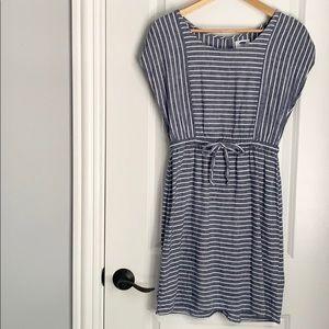 Old Navy Linen Blue Stripe Cinched Dress Medium